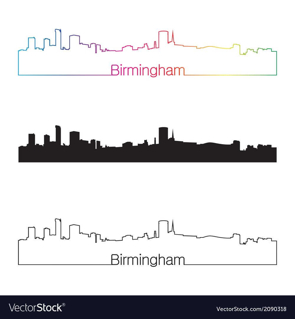 Birmingham skyline linear style with rainbow vector | Price: 1 Credit (USD $1)