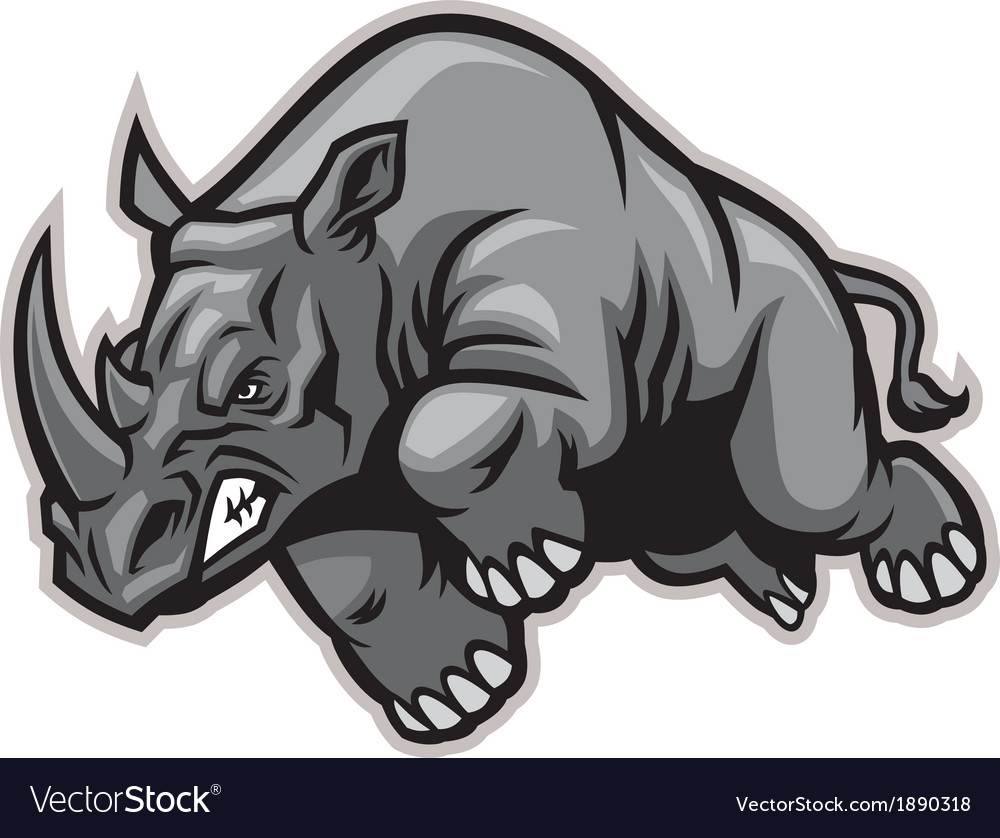 Charging rhino vector | Price: 3 Credit (USD $3)