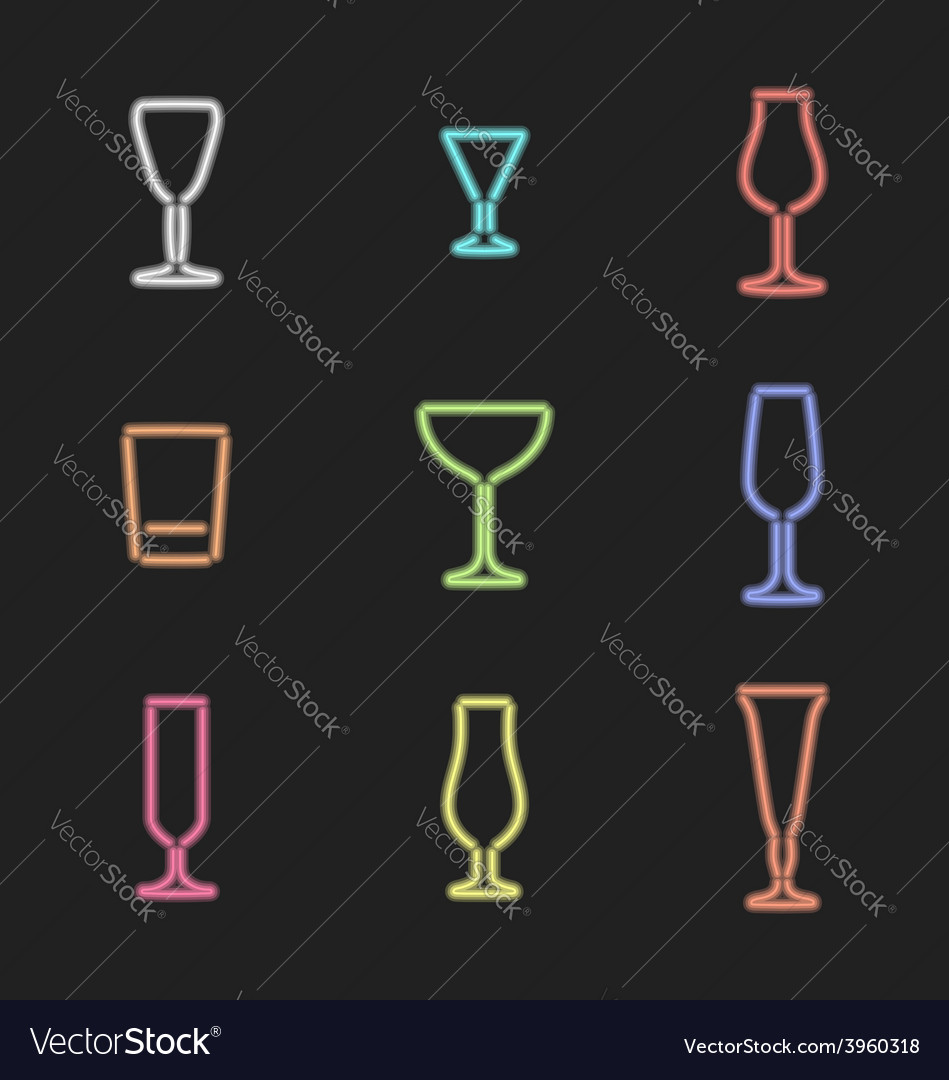 Neon light colors various alcohol glasses set vector | Price: 1 Credit (USD $1)
