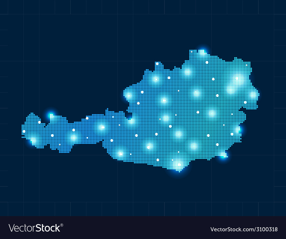 Pixel austria map with spot lights vector | Price: 1 Credit (USD $1)