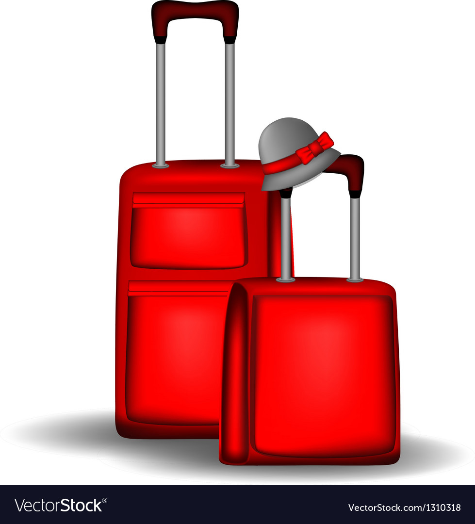 Red luggage vector | Price: 1 Credit (USD $1)