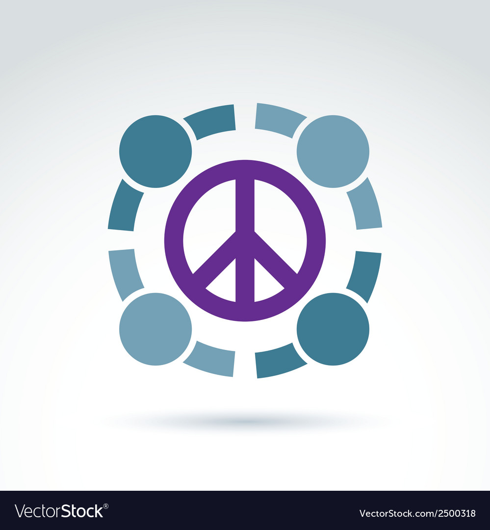 Round antiwar icon no war symbol people of the vector | Price: 1 Credit (USD $1)