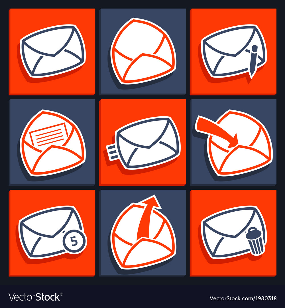 Set of icons for app envelopes and message vector | Price: 1 Credit (USD $1)