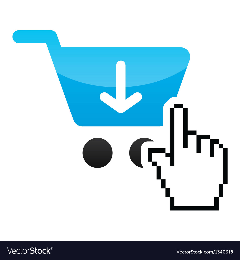 Shopping car glossy icon with cursor hand icon vector | Price: 1 Credit (USD $1)