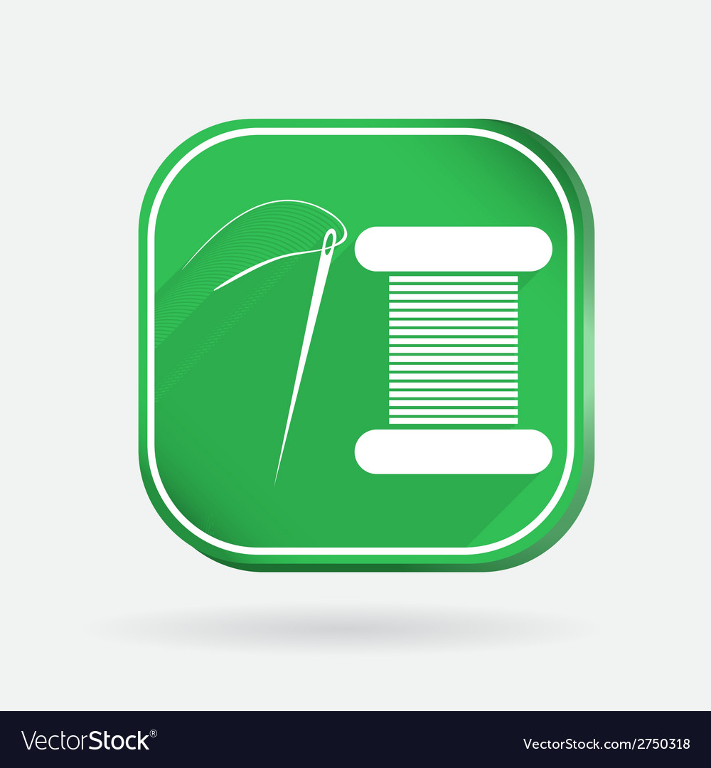 Spool of thread and needle color square icon vector | Price: 1 Credit (USD $1)