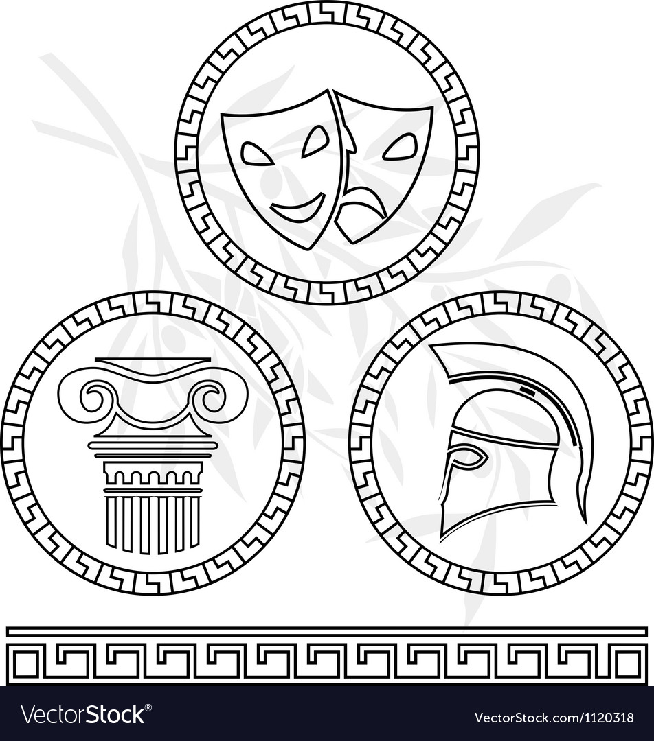 Stencils of hellenic images vector | Price: 1 Credit (USD $1)