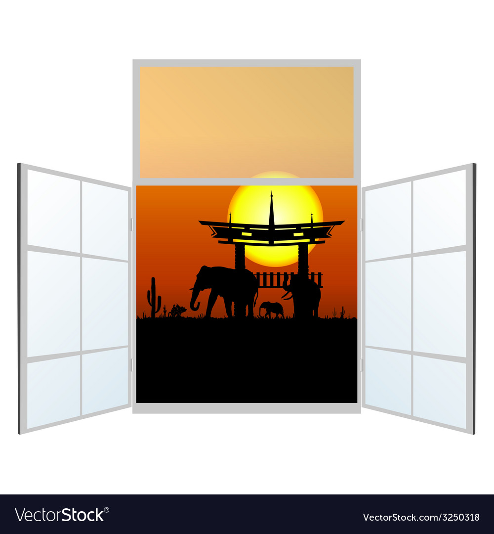 Window with elephani in the background vector | Price: 1 Credit (USD $1)