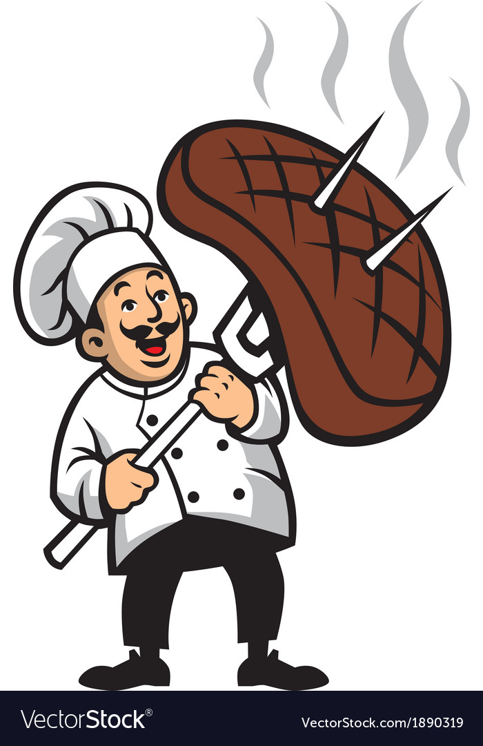 Chef with a piece of steak vector | Price: 3 Credit (USD $3)