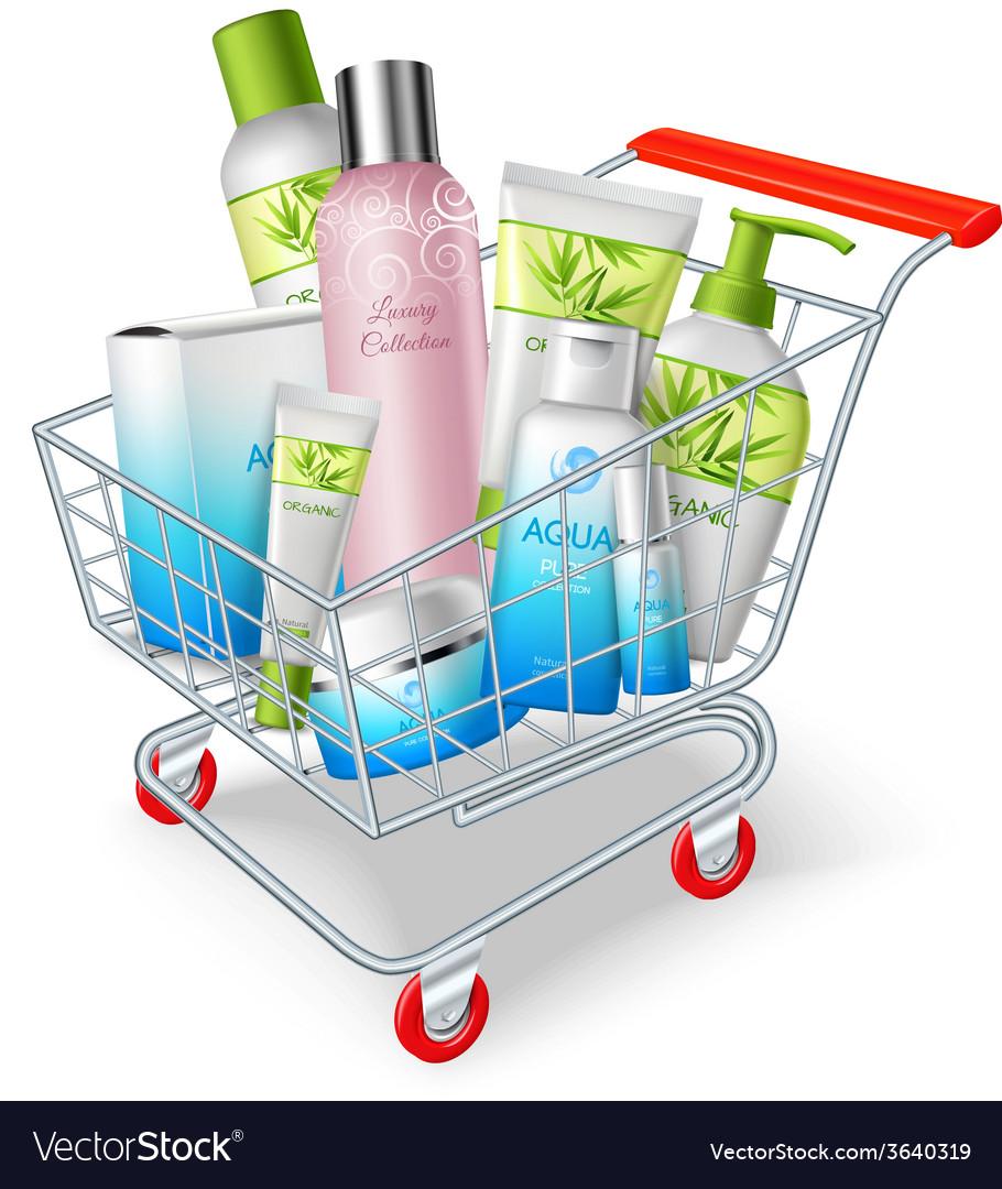 Cosmetics shopping cart vector | Price: 1 Credit (USD $1)