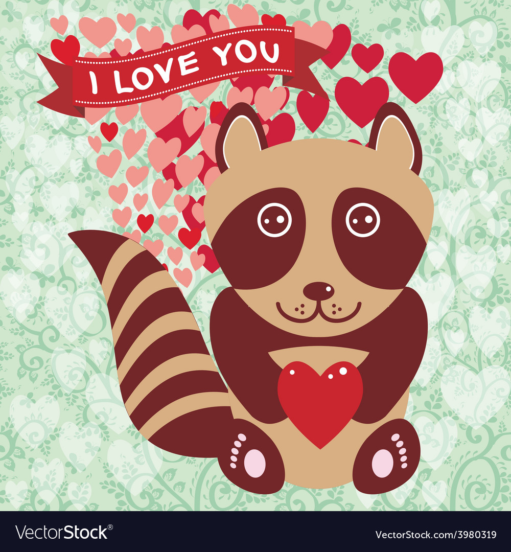 Cute raccoon with red heart valentines day card vector | Price: 1 Credit (USD $1)