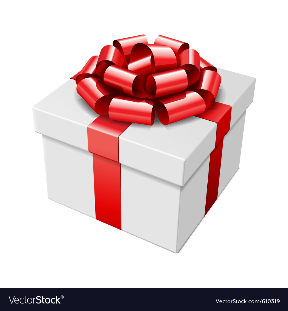 Gift box with red bow isolated on white vector | Price: 1 Credit (USD $1)