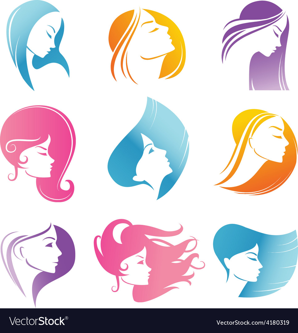 Girls portrait - silhouette icons vector | Price: 1 Credit (USD $1)