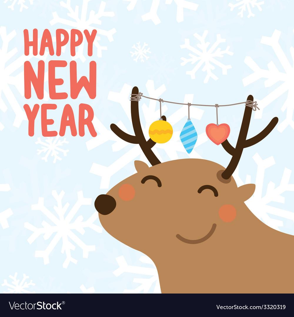 Happy new year postcard vector | Price: 1 Credit (USD $1)