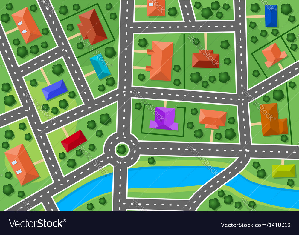 Map of little town or suburb village vector | Price: 1 Credit (USD $1)