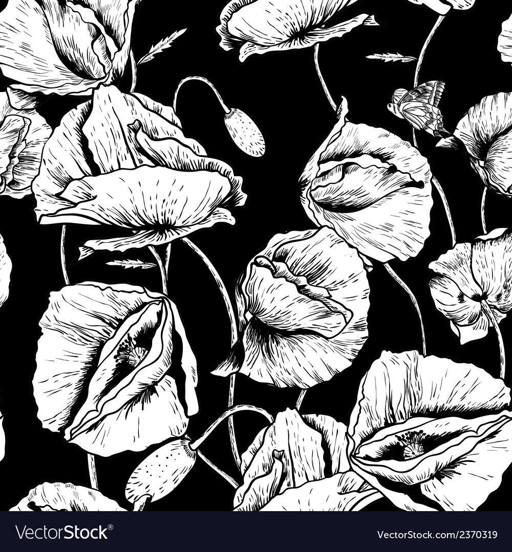 Monochrome seamless floral background with poppy vector | Price: 1 Credit (USD $1)