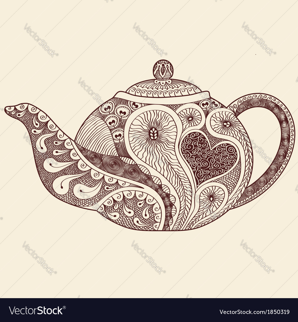 Patterned teapot drawing vector | Price: 1 Credit (USD $1)