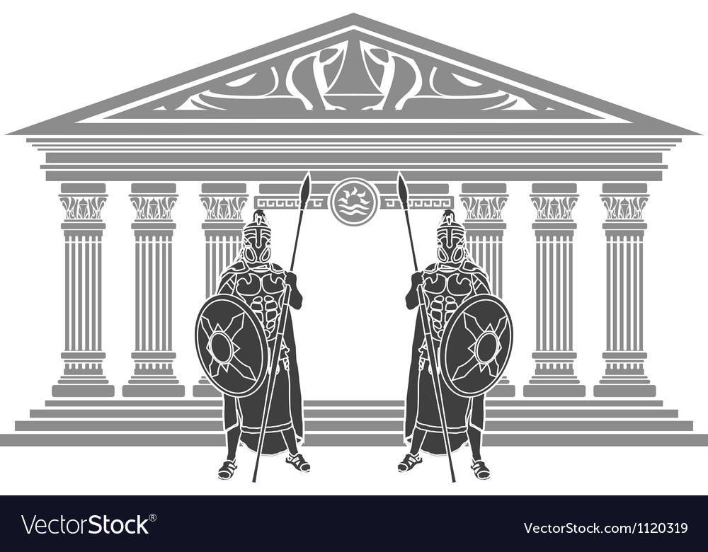 Two titans and temple of atlantis vector