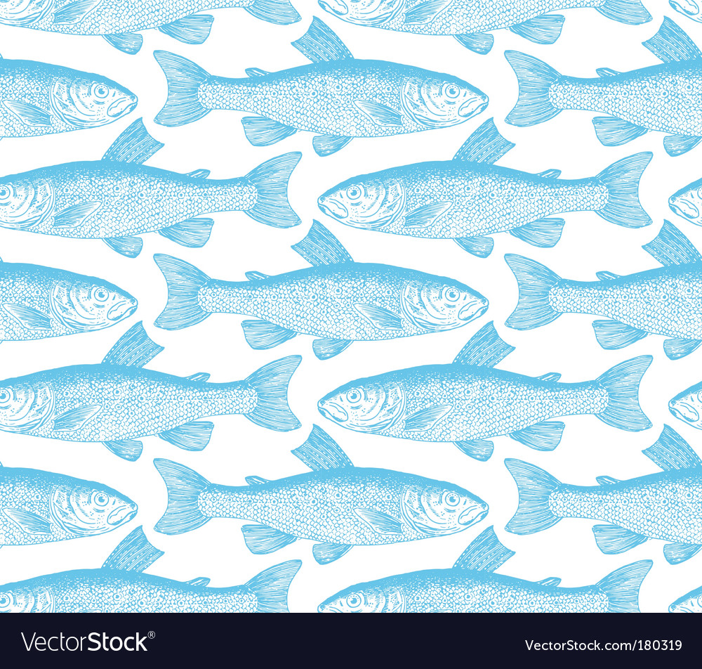Vintage fish pattern vector | Price: 1 Credit (USD $1)