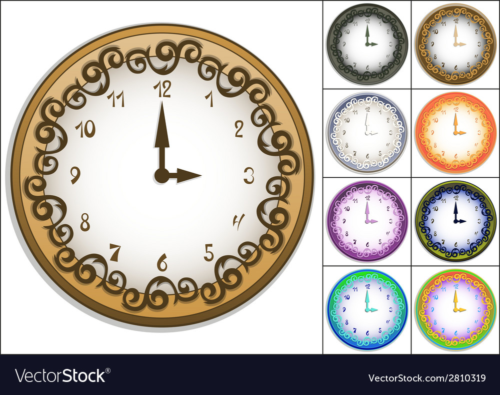 Wall clock decorated with ornate pattern vector | Price: 1 Credit (USD $1)