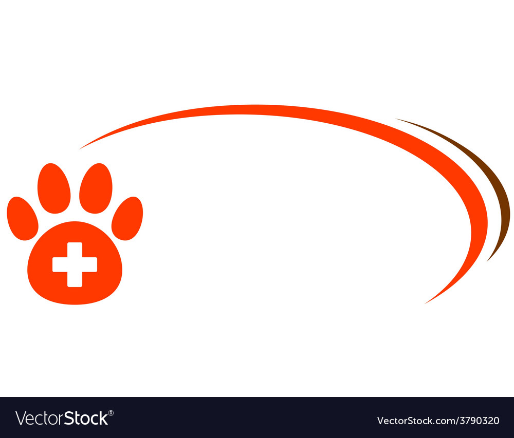 Background with paw and veterinarian cross vector | Price: 1 Credit (USD $1)
