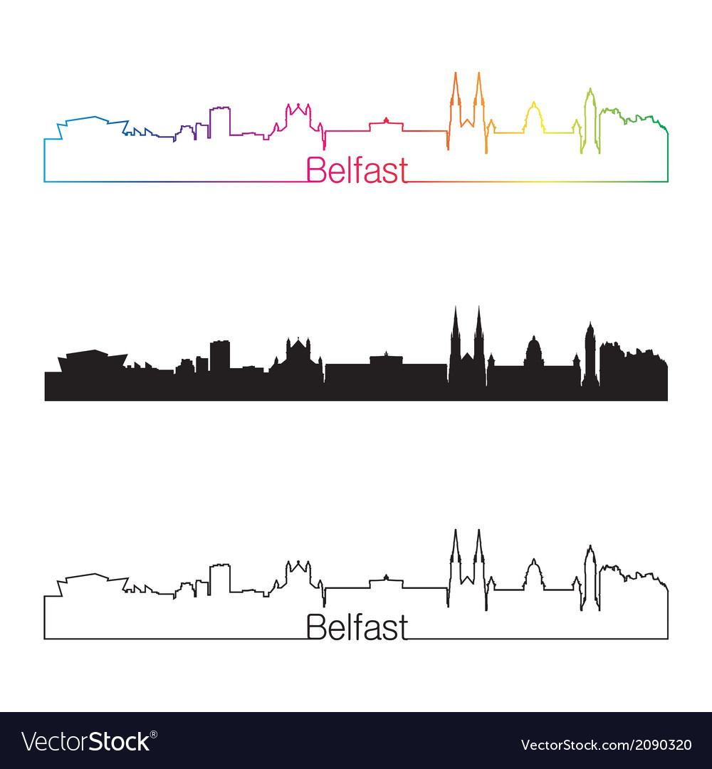 Belfast skyline linear style with rainbow vector | Price: 1 Credit (USD $1)