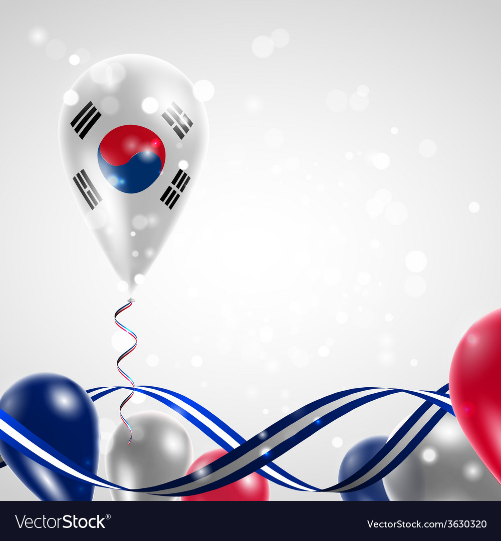 Flag of the republic of korea on balloon vector | Price: 1 Credit (USD $1)