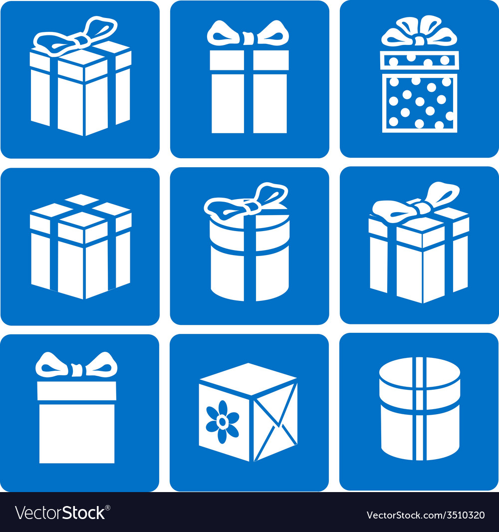 Gift box icons set on blue background vector | Price: 1 Credit (USD $1)