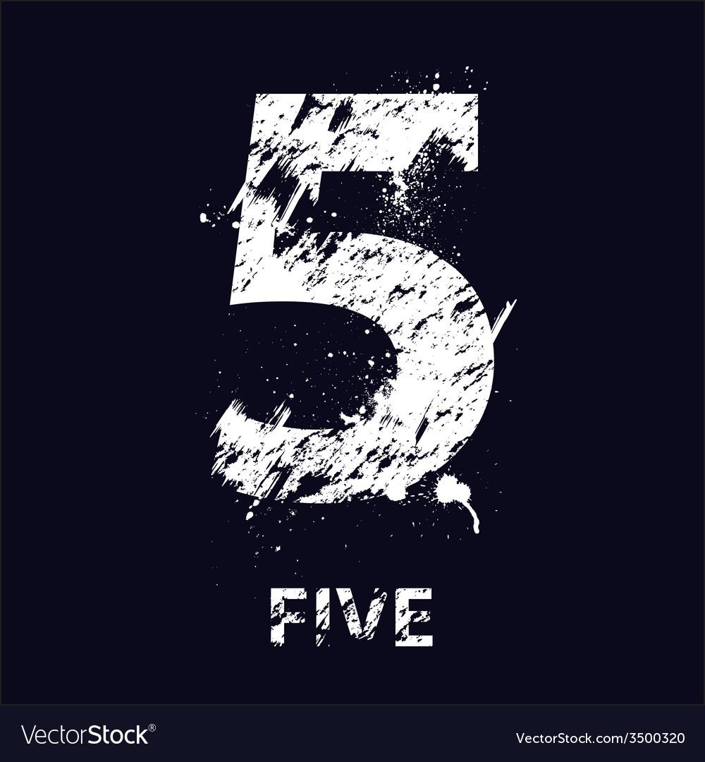 Grunge number five vector | Price: 1 Credit (USD $1)