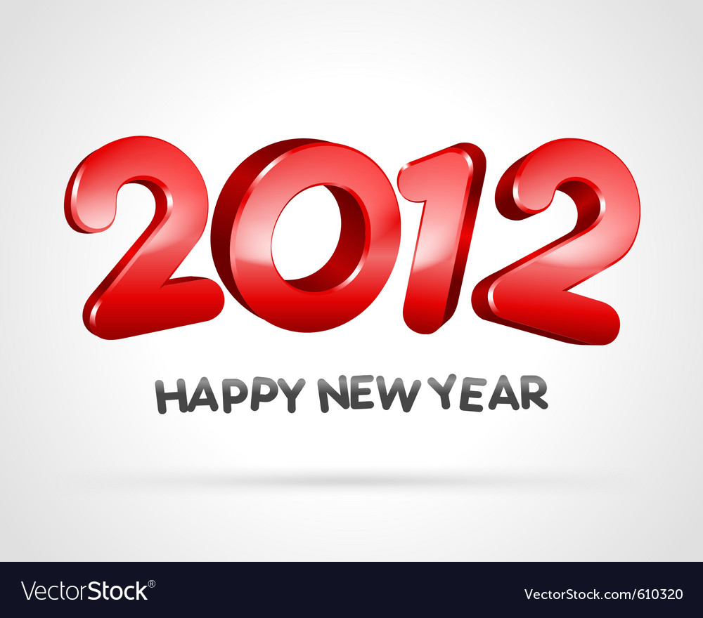 Happy new year 2012 3d message background vector | Price: 1 Credit (USD $1)
