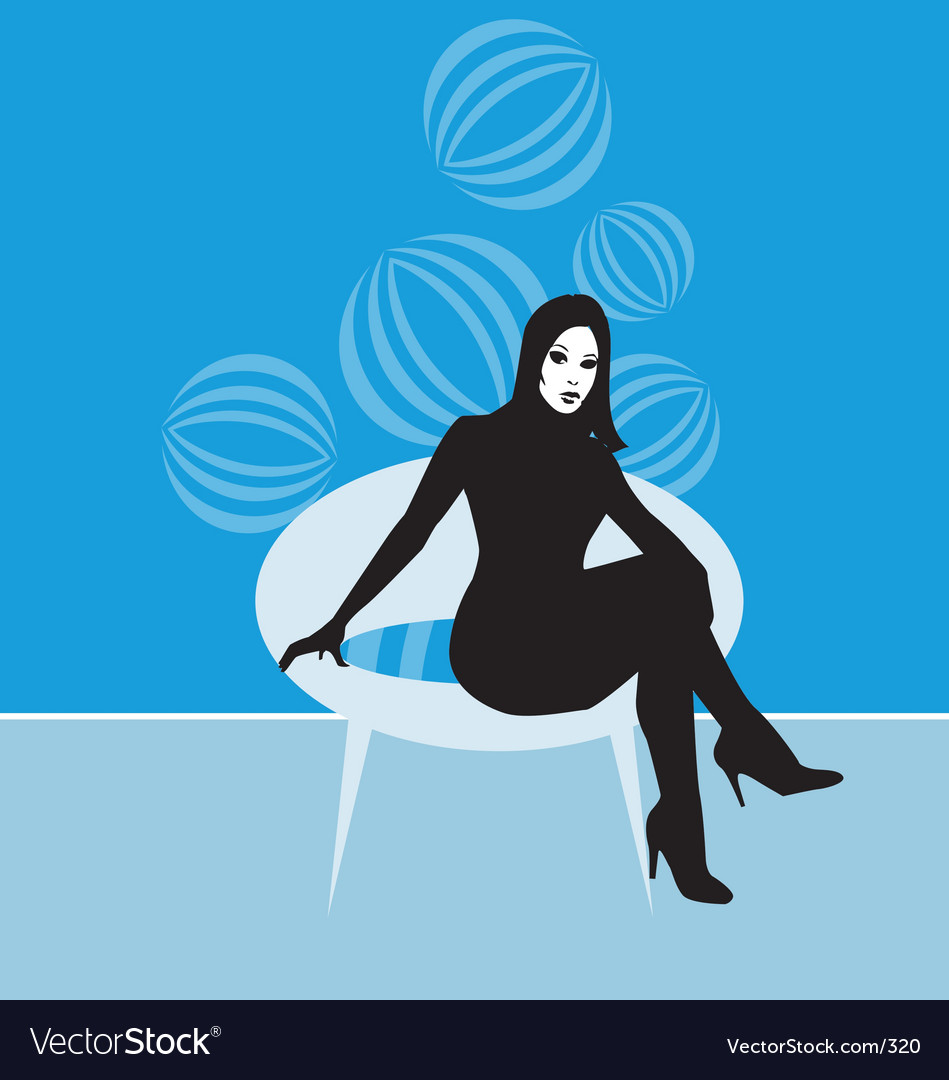Lady on retro chair vector | Price: 1 Credit (USD $1)