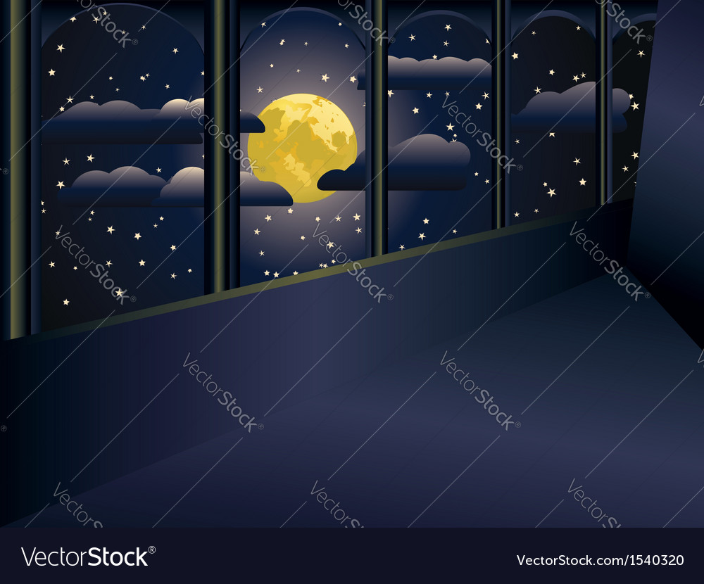 Moon and balcony vector | Price: 1 Credit (USD $1)