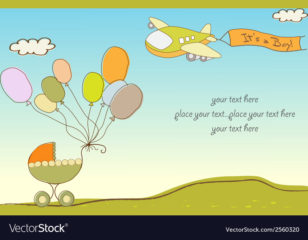 New baby announcement card with airplane vector | Price: 1 Credit (USD $1)
