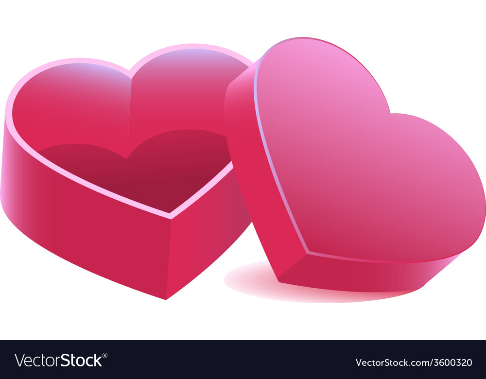 Pink heart shaped open box vector | Price: 1 Credit (USD $1)