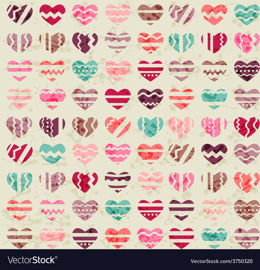 Seamless vintage pattern with hearts vector | Price: 1 Credit (USD $1)