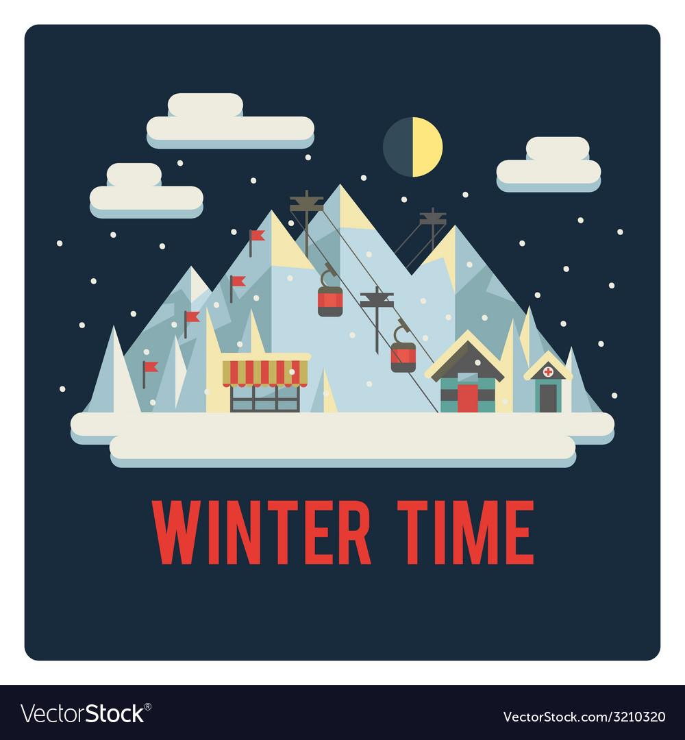 Ski resort in mountains winter time night vector | Price: 1 Credit (USD $1)
