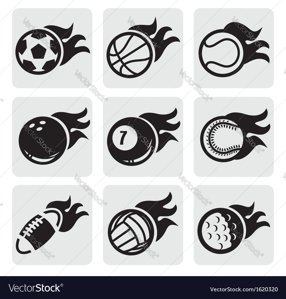 Sports balls on fire vector | Price: 1 Credit (USD $1)