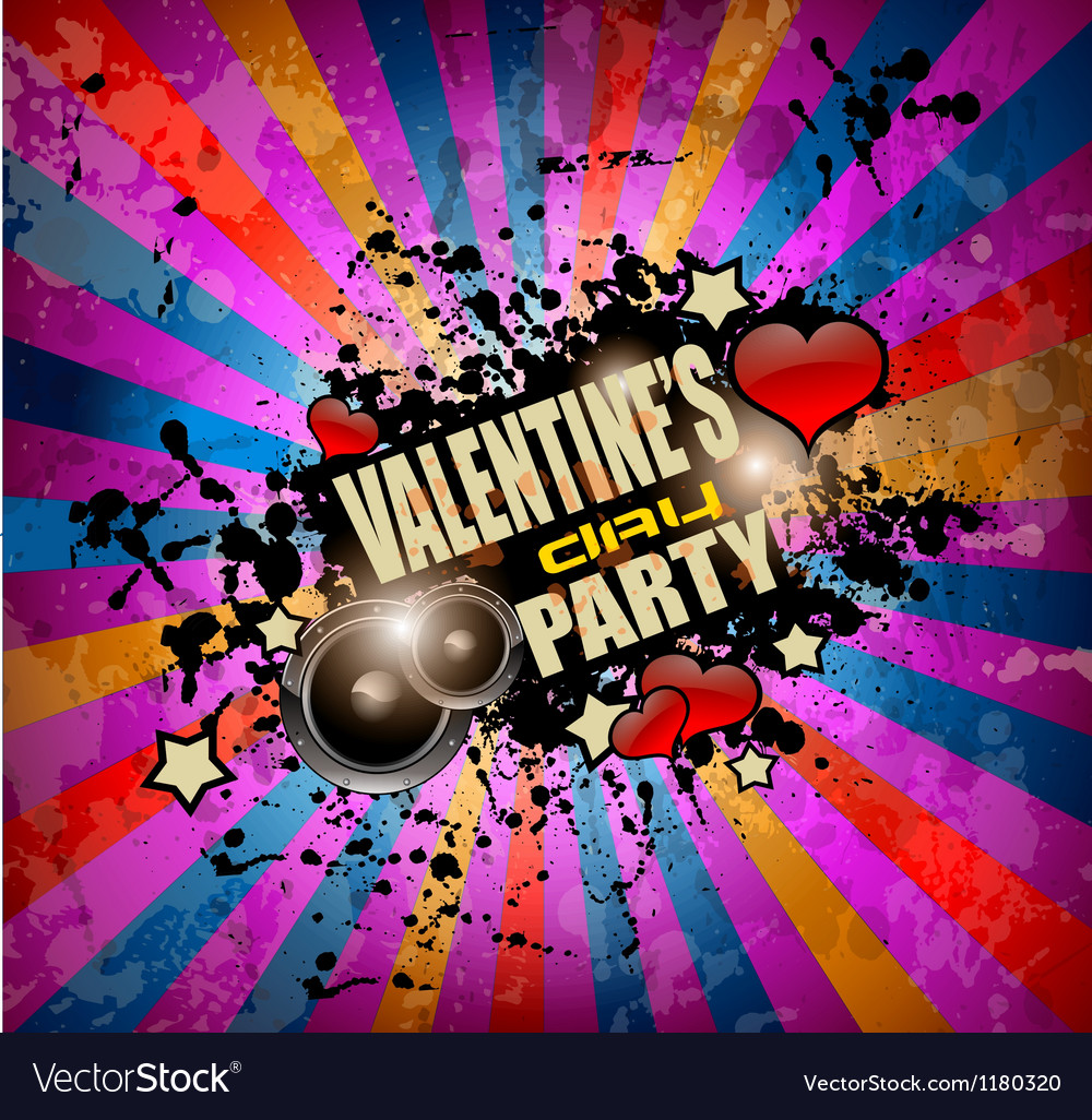 Valentines day party flyer background vector | Price: 1 Credit (USD $1)