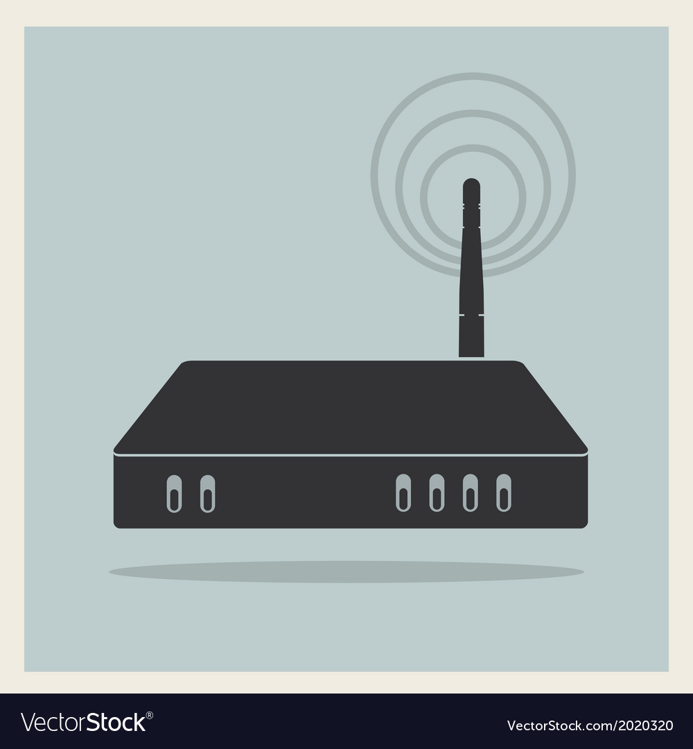 Wi-fi router on retro background vector | Price: 1 Credit (USD $1)