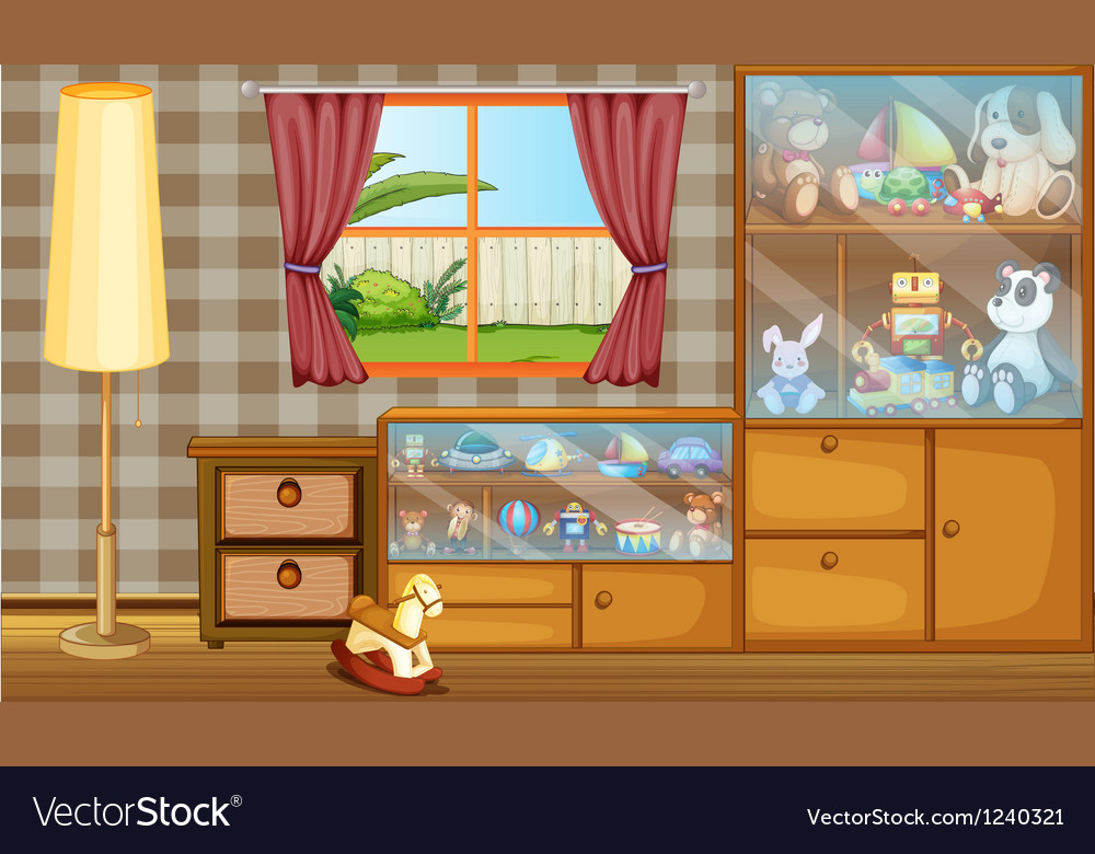 A cabinet full of toys vector | Price: 1 Credit (USD $1)