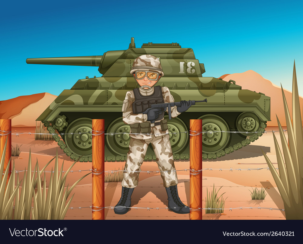 A soldier in front of the military tank vector | Price: 3 Credit (USD $3)