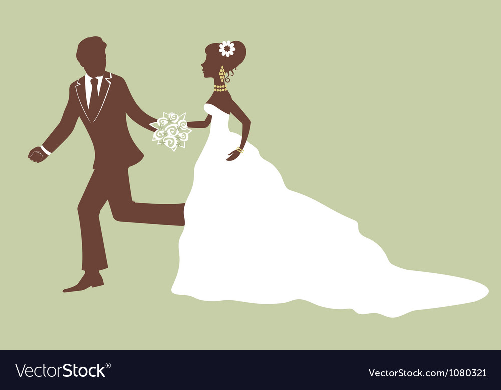 Beautiful bride and groom running vector | Price: 1 Credit (USD $1)