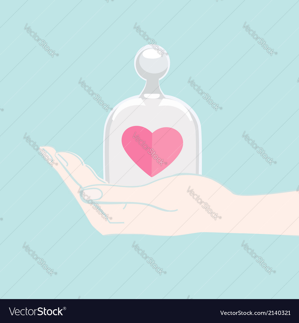 Hand offering a heart under a glass cover vector | Price: 1 Credit (USD $1)