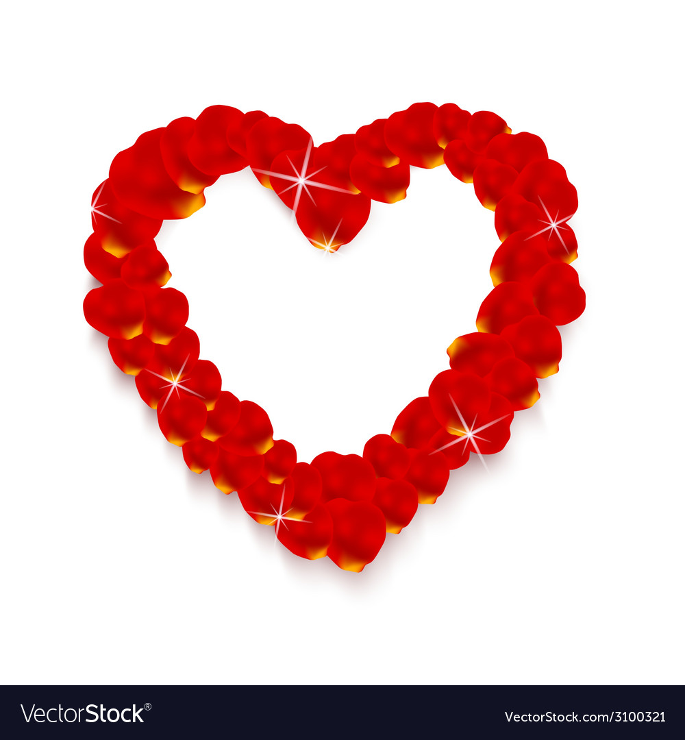 Heart shape made of rose petals vector | Price: 1 Credit (USD $1)