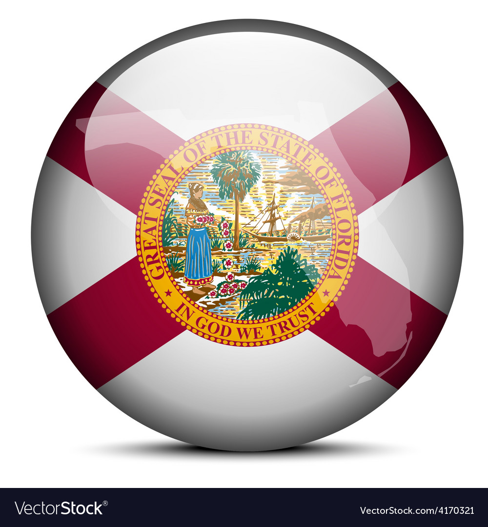 Map on flag button of usa florida state vector | Price: 1 Credit (USD $1)