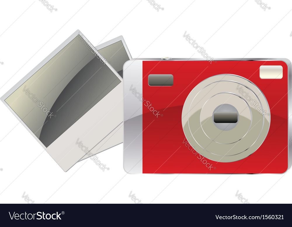 Red digital camera and photo cards vector | Price: 1 Credit (USD $1)
