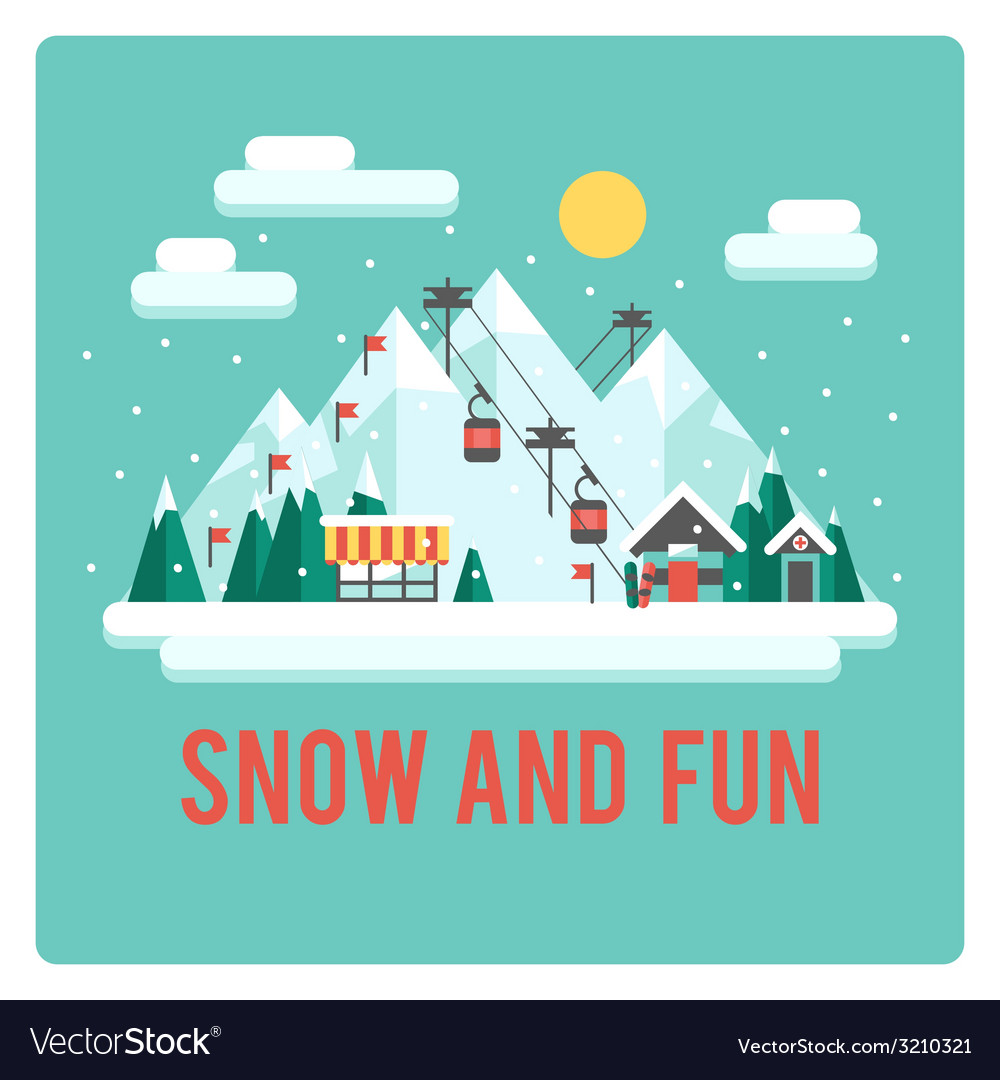 Ski resort in mountains winter time snow and fun vector | Price: 1 Credit (USD $1)