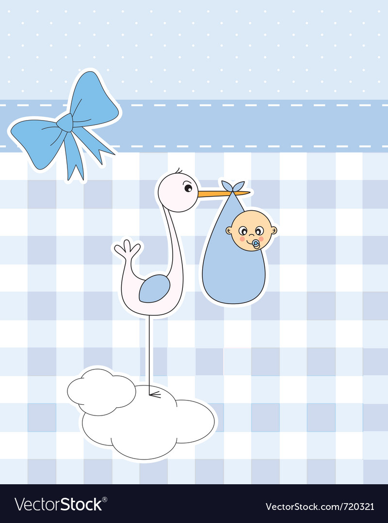 Stork with newborn baby vector | Price: 1 Credit (USD $1)