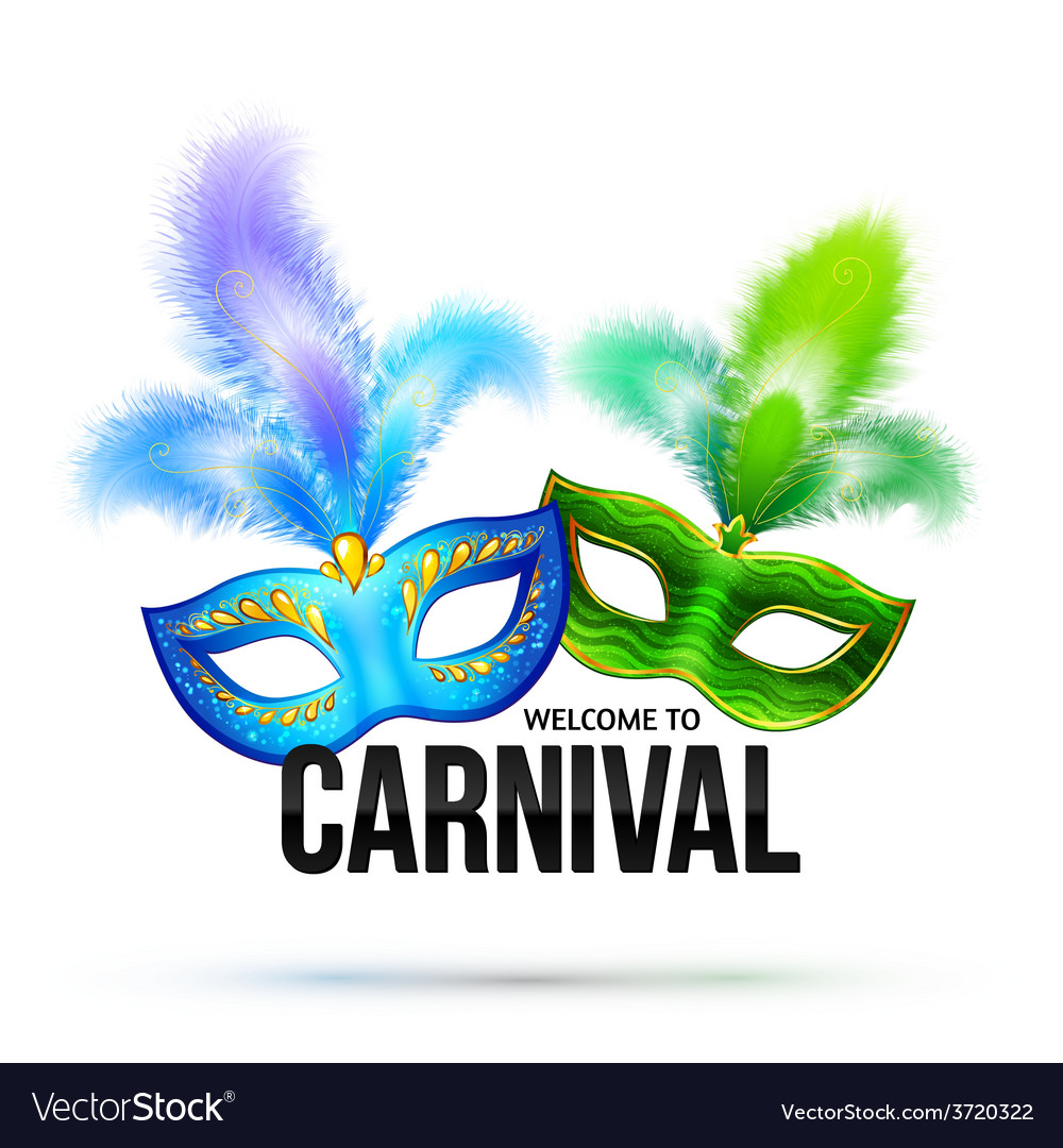 Bright carnival masks with feathers and black sign vector