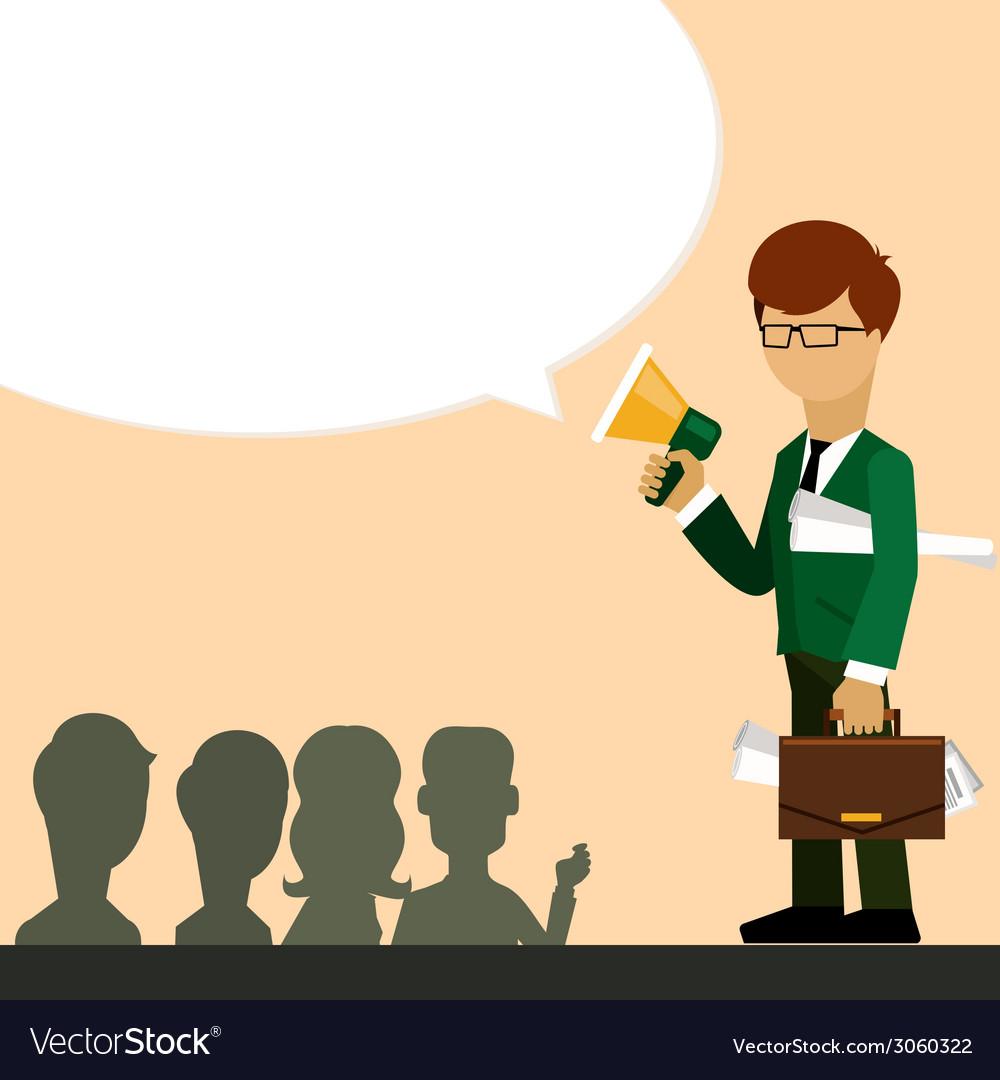 Businessman investor speaks in megaphone vector   Price: 1 Credit (USD $1)