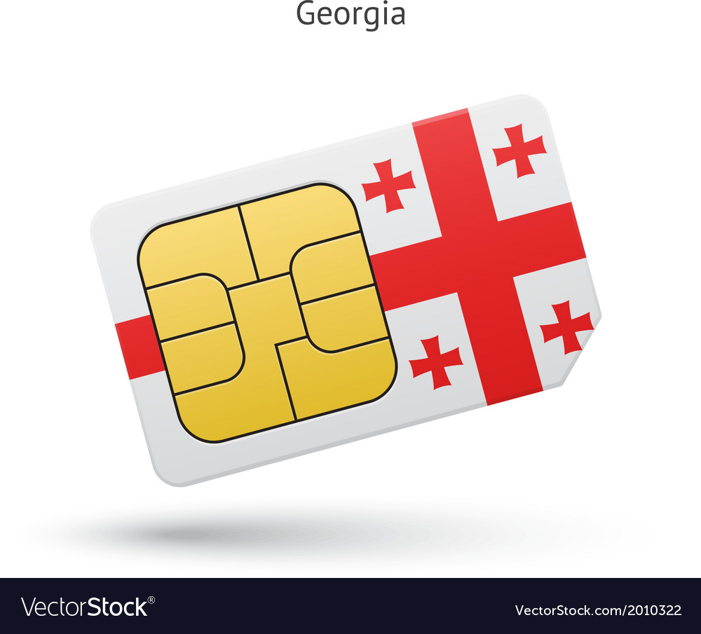 Georgia mobile phone sim card with flag vector | Price: 1 Credit (USD $1)